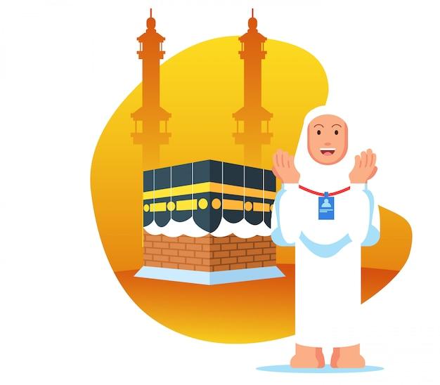 Peregrinação hajj feminino rezar perto kaaba Vetor Premium
