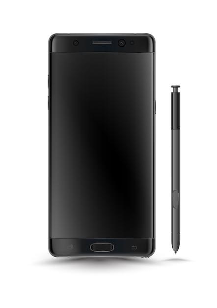Perfeitamente detalhado novo estilo de nota 7 de smartphones galáxia Vetor Premium