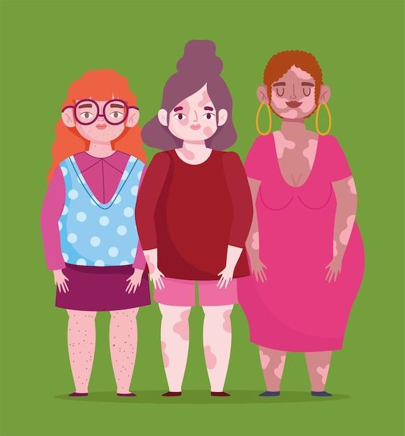 Perfeitamente imperfeito, grupo feminino de desenho animado com vitiligo, sardas, pele problemática Vetor Premium