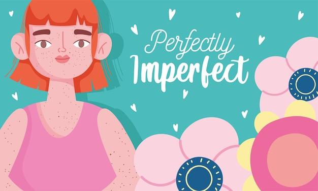 Perfeitamente imperfeito, mulher de desenho animado com sardas no corpo, cartão motivacional Vetor Premium