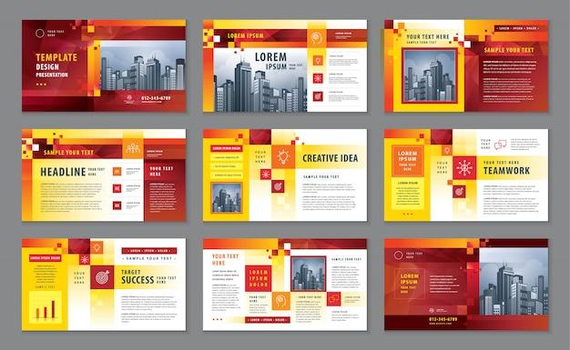 Perfil corporativo, modelo de design de catálogo de apresentação de negócios Vetor Premium