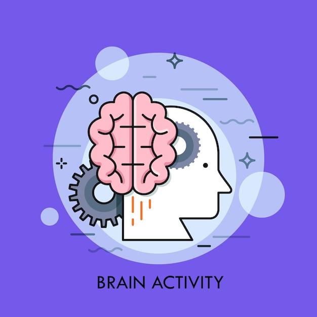 Perfil de cabeça humana, cérebro e rodas dentadas. conceito de atividade intelectual ou mental, inteligência, pensamento criativo ou inteligente Vetor Premium