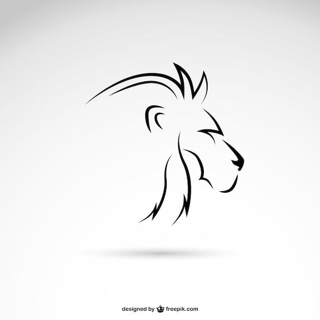 Perfil de linha leão arte Vetor Premium