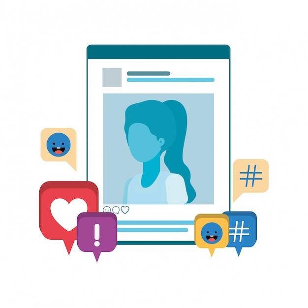 Perfil de rede social mulher com bolha do discurso Vetor Premium