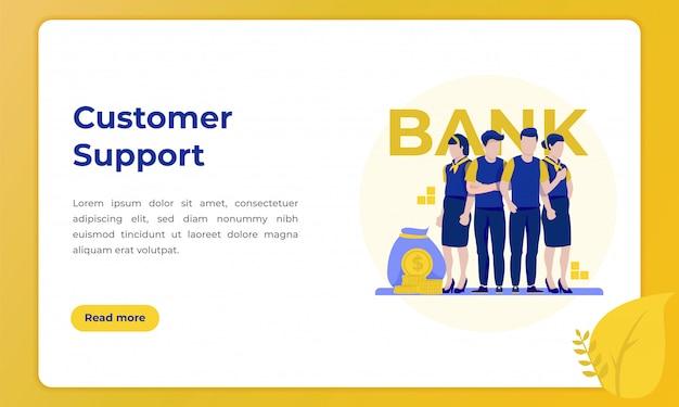 Perfil de suporte ao cliente, ilustração para landing page com o tema do setor bancário Vetor Premium