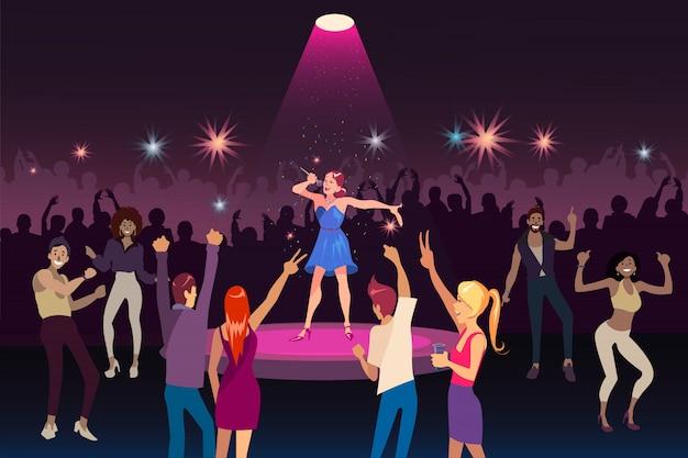 Performance de concerto, festa na discoteca com música moderna, conceito de evento de juventude de vida noturna Vetor Premium