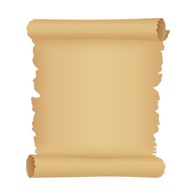Pergaminho ou rolo de papel velho. fundo antigo com espaço de cópia. Vetor Premium