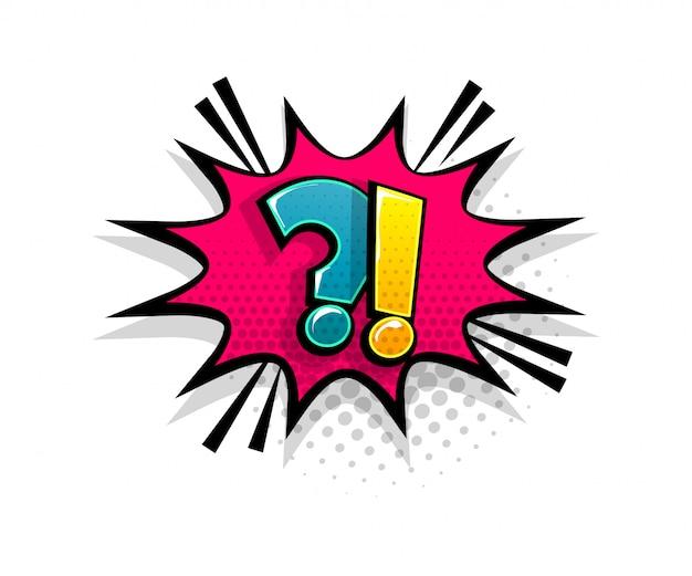 Pergunta de texto em quadrinhos sobre o estilo pop art do balão de fala Vetor Premium
