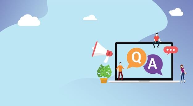 Pergunta e peça ou qa para suporte ao cliente Vetor Premium
