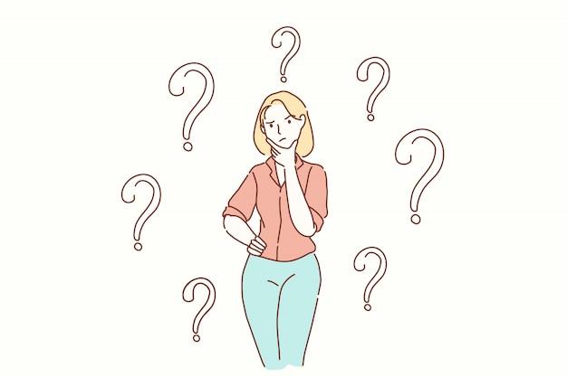Pergunta, tarefa, problema, conceito de pensamentos. Vetor Premium