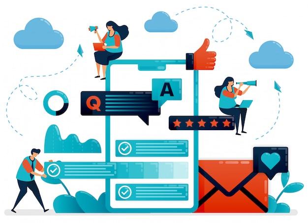 Perguntas e respostas ou perguntas e respostas aos usuários para obter ilustração do conceito de feedback Vetor Premium