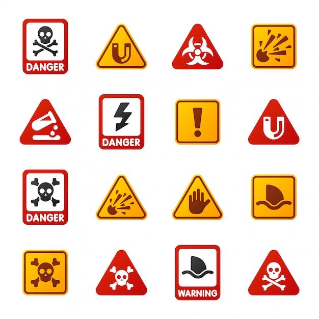 Perigo aviso atenção sinal ícones Vetor Premium