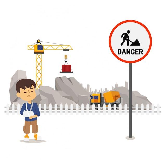 Perigo sob o território da construção, ilustração. sinal de facilidade de perigo, realizando a construção. personagem de menino ferida Vetor Premium