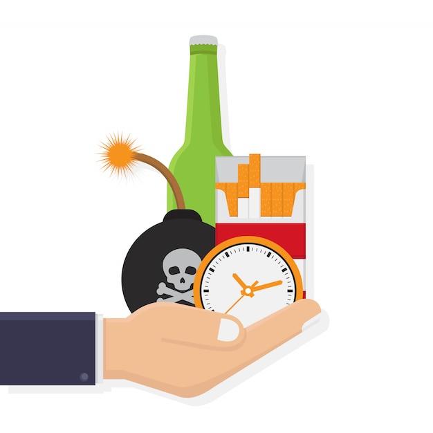Perigos do tabagismo e bebidas alcoólicas Vetor Premium
