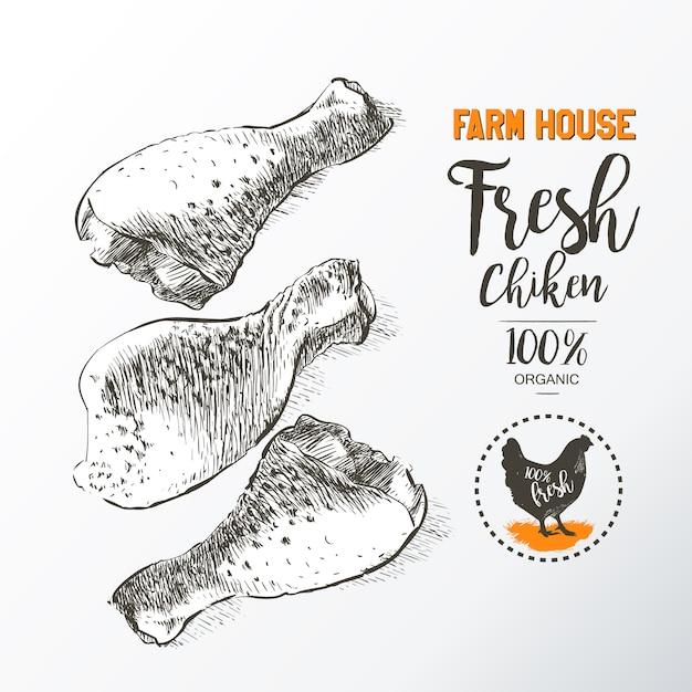 Pernas de frango fresco Vetor Premium