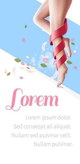 Pernas femininas lisas com pele perfeita, spa flyer Vetor Premium