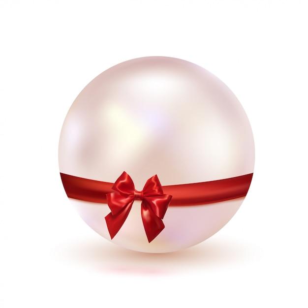 Pérola cor-de-rosa com uma curva vermelha da fita do cetim isolada em um fundo branco. design glamouroso. joalheria. ilustração. Vetor Premium