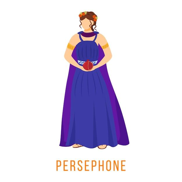 Persephone plana. divindade da grécia antiga. mitologia. deusa. rainha do submundo. figura mitológica divina. personagem de desenho animado isolada em fundo branco Vetor Premium