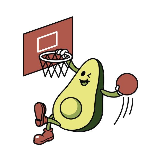 Personagem abacate jogando basquete ilustração Vetor Premium