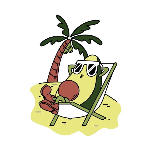 Personagem abacate relaxar ilustração gráfica Vetor Premium