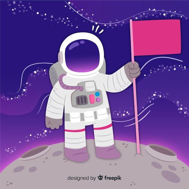 Personagem adorável astronauta com design plano Vetor grátis