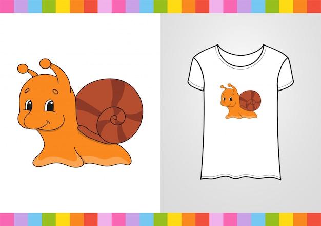 Personagem bonita na camisa. ilustração vetorial colorida. Vetor Premium