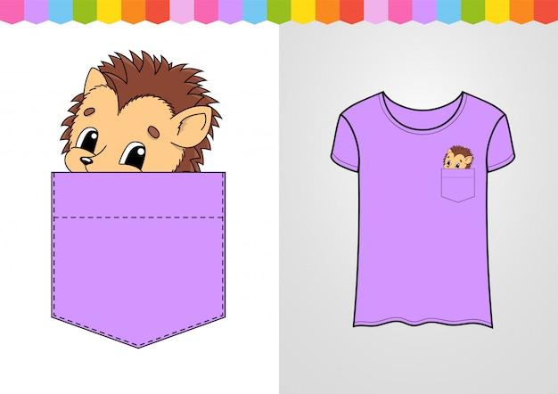 Personagem bonita no bolso da camisa. animal ouriço. Vetor Premium