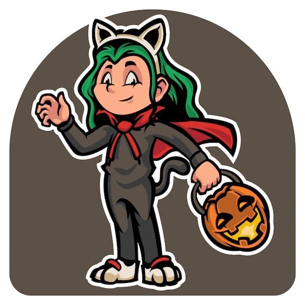 Personagem bonito do dia das bruxas em traje de gatos maus Vetor Premium