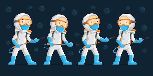 Personagem com desinfecção em várias poses Vetor Premium