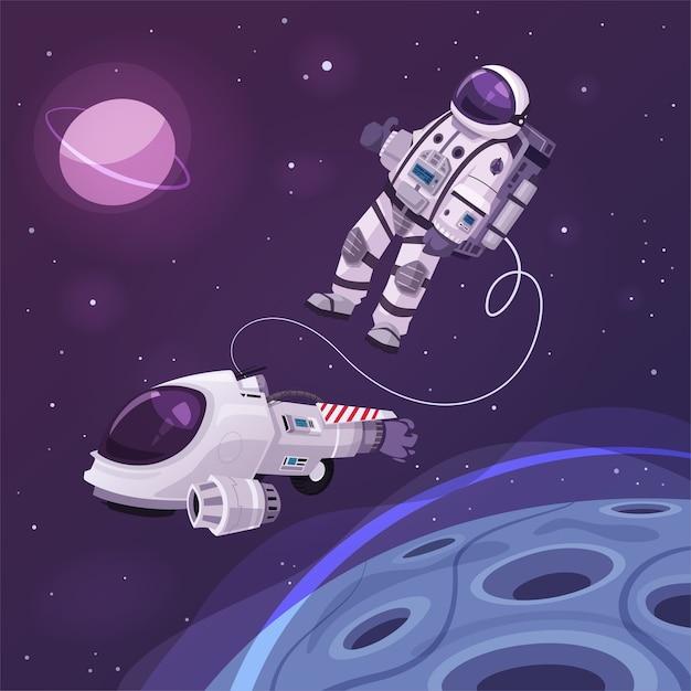 Personagem cosmonauta no espaço sideral Vetor Premium