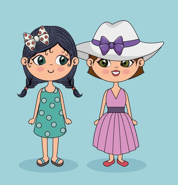 Personagem cute girls posando Vetor grátis