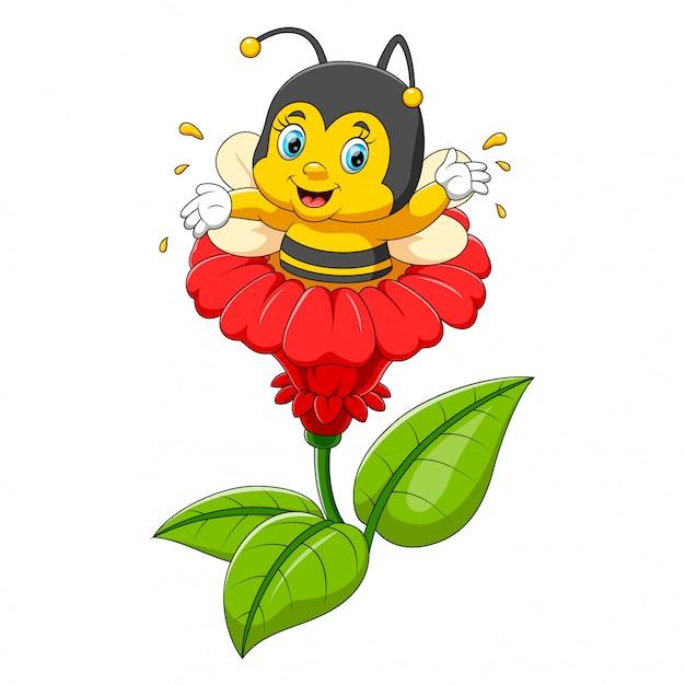 Personagem de abelha na flor Vetor Premium