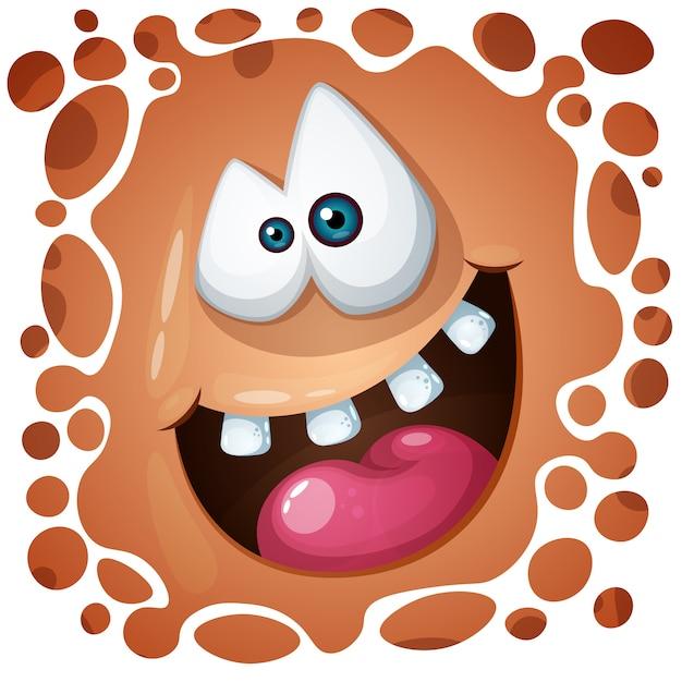 Personagem de abóbora louco engraçado, fofo. ilustração de halloween. Vetor Premium