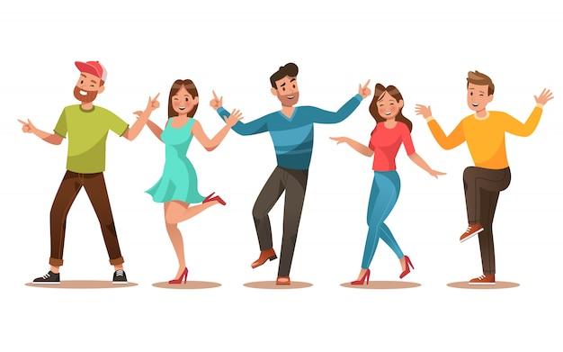 Personagem de adolescentes felizes. adolescentes dançando Vetor Premium