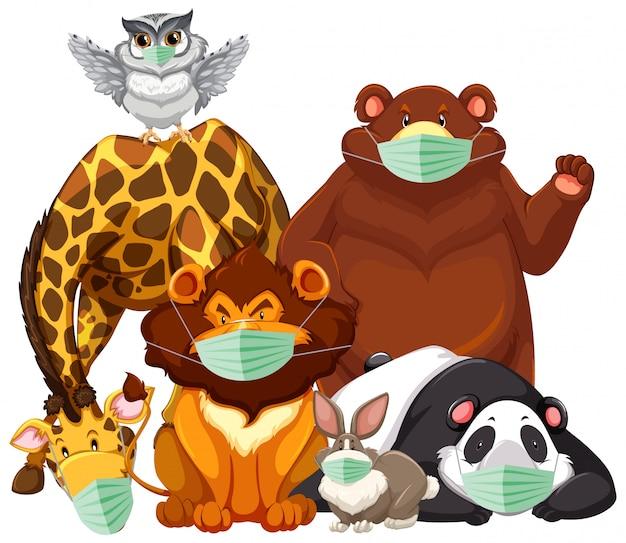 Personagem de animais selvagens usando máscara Vetor grátis