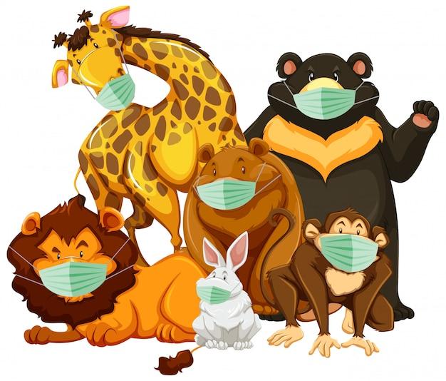 Personagem de animal selvagem caroon usando máscara Vetor grátis