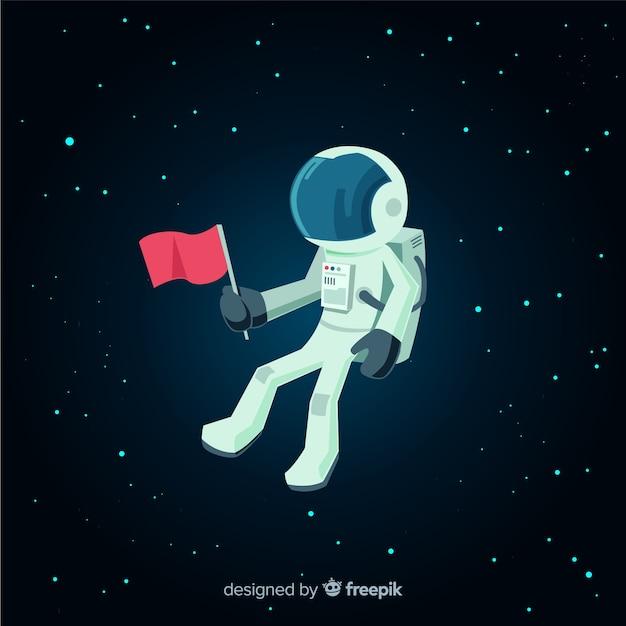Personagem de astronauta clássica com design plano Vetor grátis