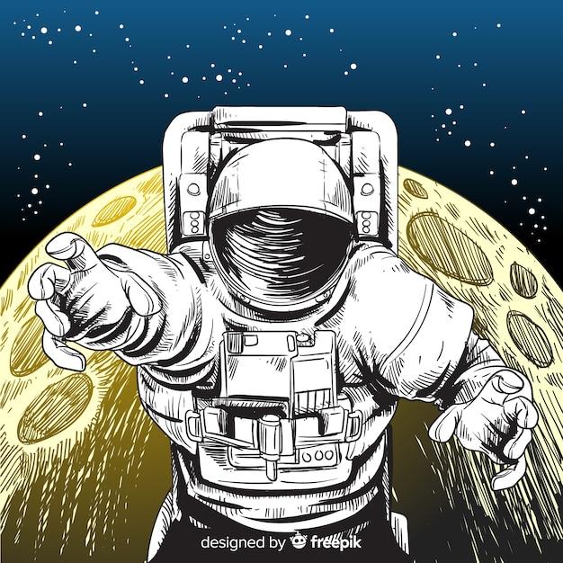 Personagem de astronauta desenhada mão elegante Vetor grátis