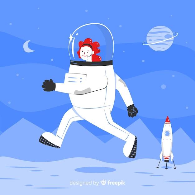 Personagem de astronauta feminina com design plano Vetor grátis