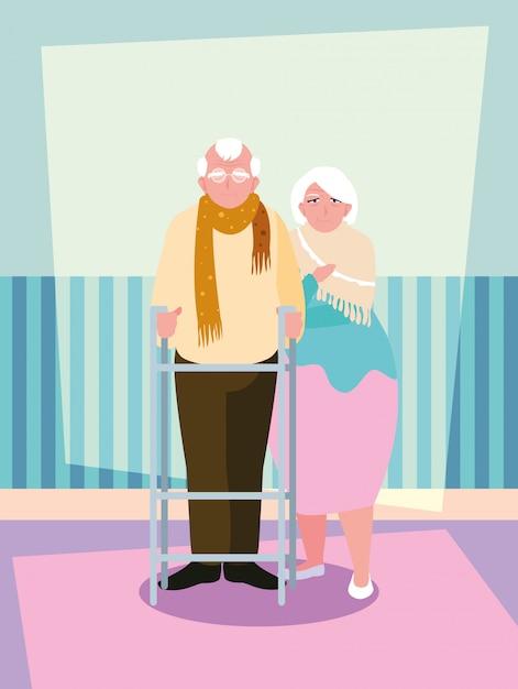 Personagem de avatar bonito casal velho Vetor Premium