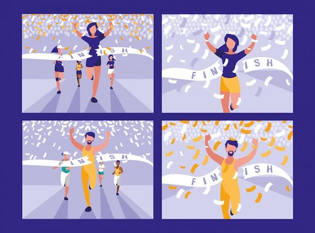 Personagem de avatar de corrida de atletismo de pessoas Vetor Premium