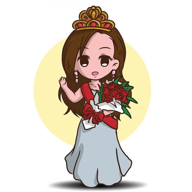 Personagem de banda desenhada bonito da representação histórica de beleza. Vetor Premium