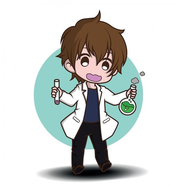 Personagem de banda desenhada bonito do cientista., conceito de trabalho. Vetor Premium