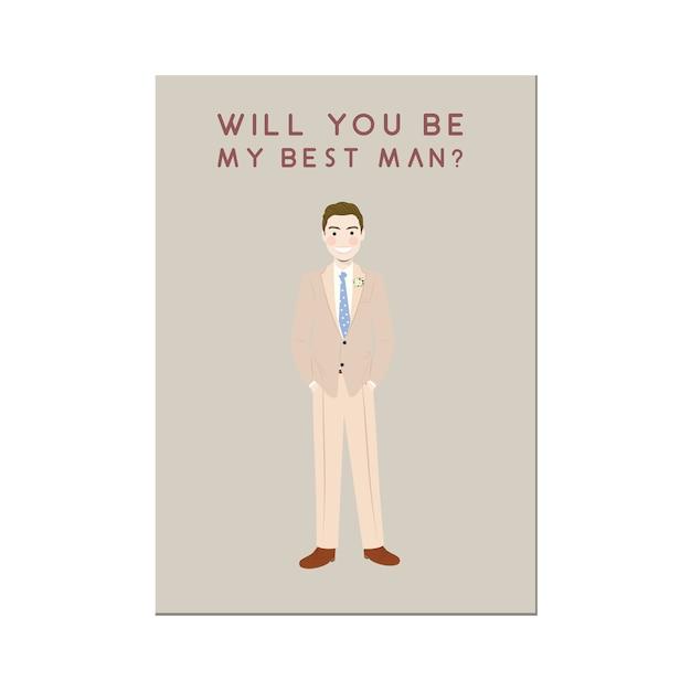 Personagem de banda desenhada bonito do homem no convite bege dos padrinhos de casamento Vetor Premium
