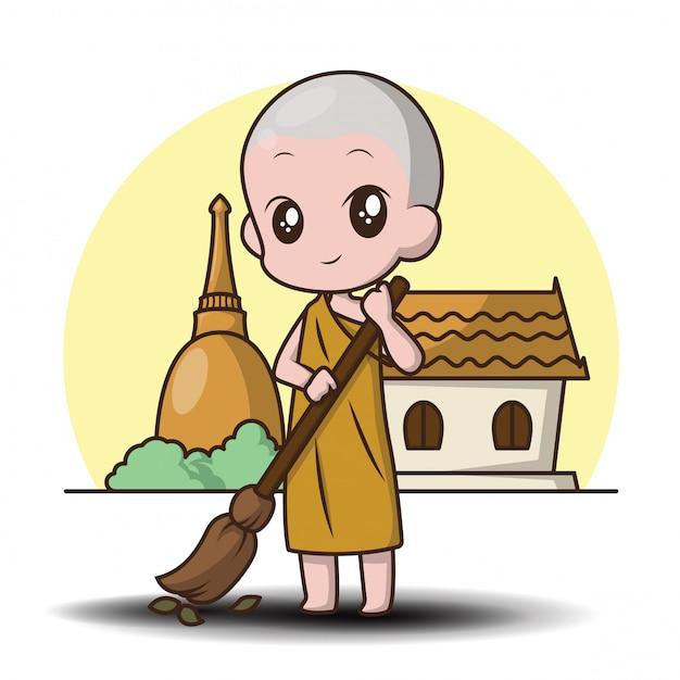 Personagem de banda desenhada bonito pequeno monge. Vetor Premium