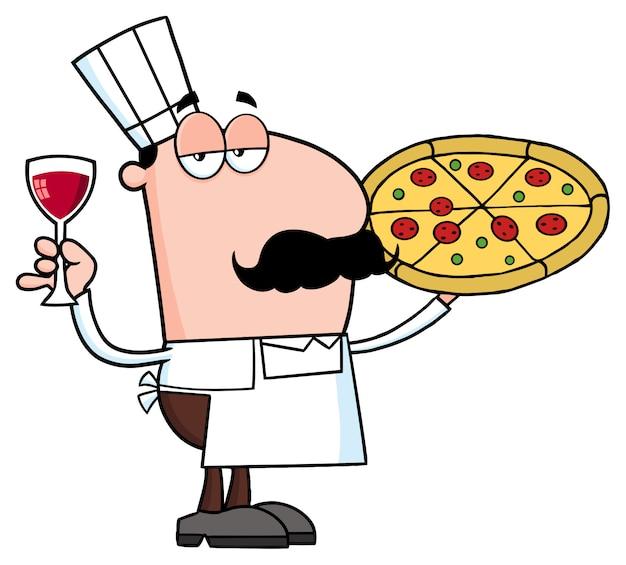 Personagem de banda desenhada do cozinheiro chefe da pizza que prende um vidro com vinho. ilustração vetorial isolada Vetor Premium
