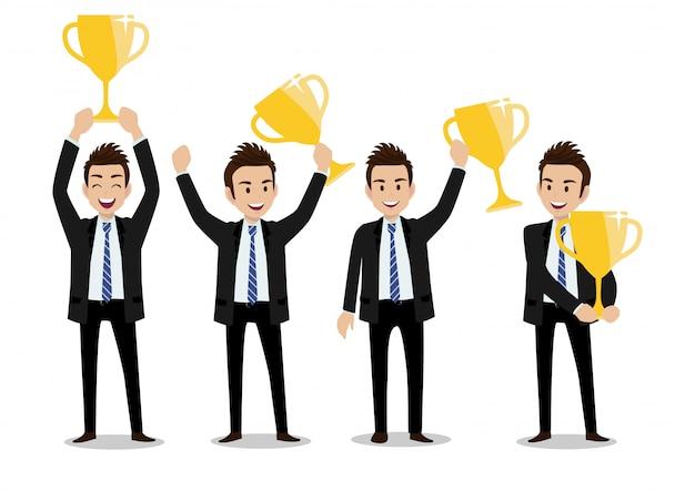 Personagem de banda desenhada do homem de negócios, conceito do vencedor do negócio com grupo de quatro poses e troféu do ouro. Vetor Premium