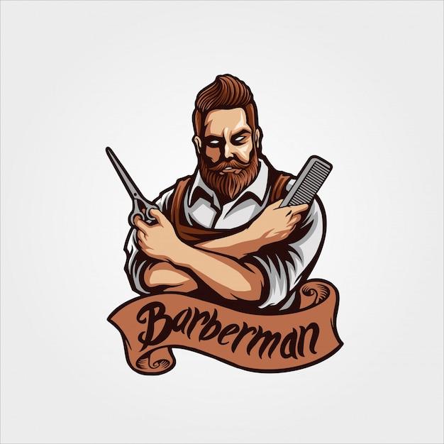 Personagem de barberman Vetor Premium