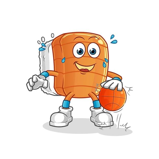 Personagem de basquete de drible de sushi. mascote dos desenhos animados Vetor Premium