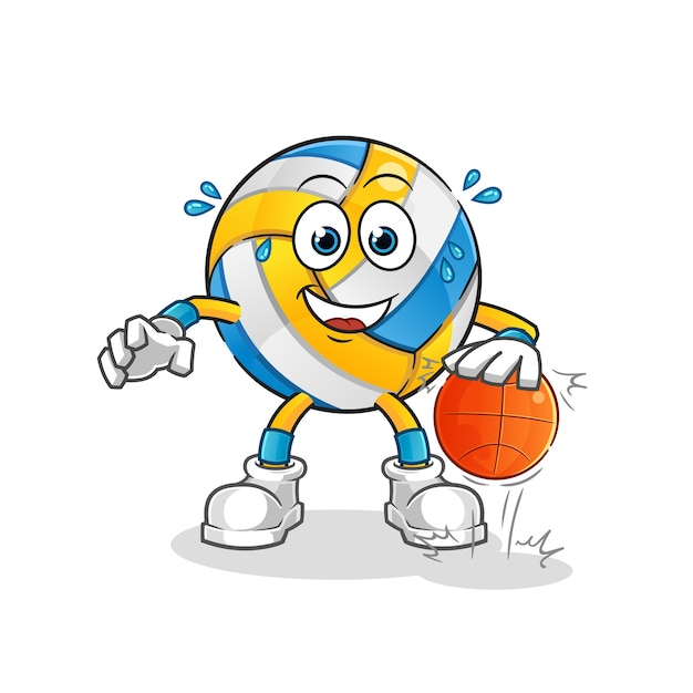 Personagem de basquete de drible de voleibol. mascote dos desenhos animados Vetor Premium